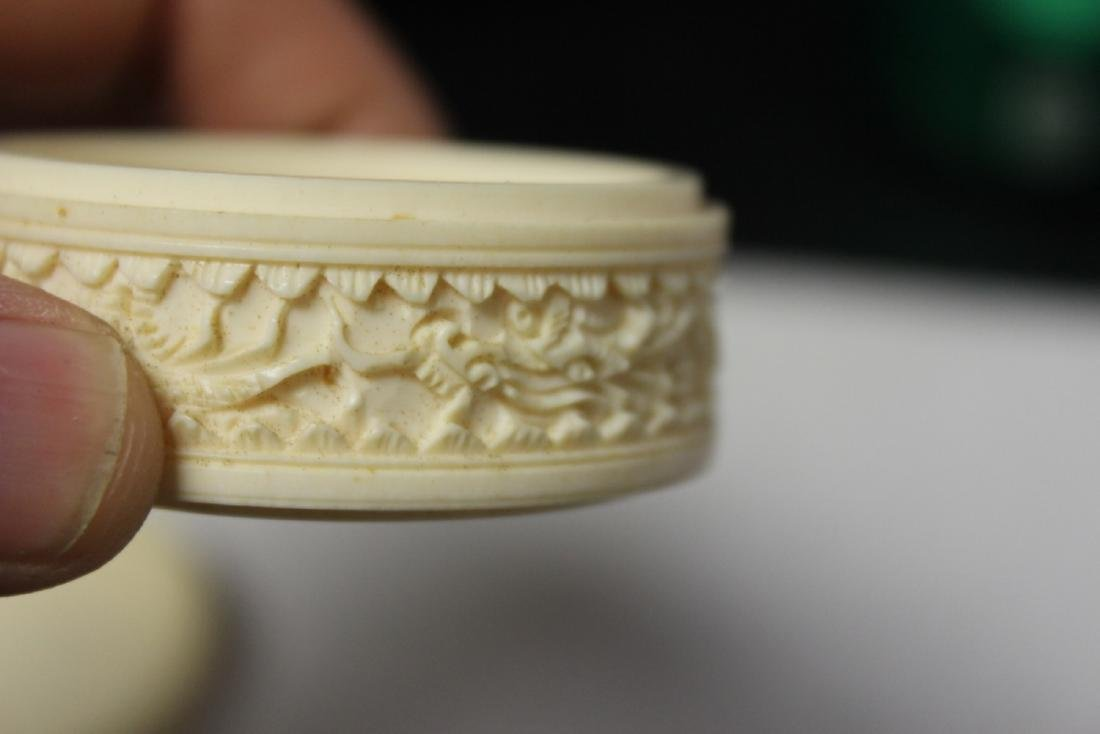 A Chinese Well Carved Bone Trinket or Pill Box - 9