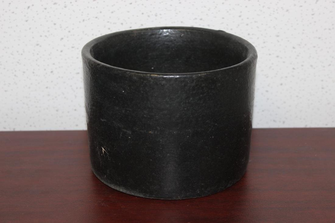 A Black Pottery Crock - 2