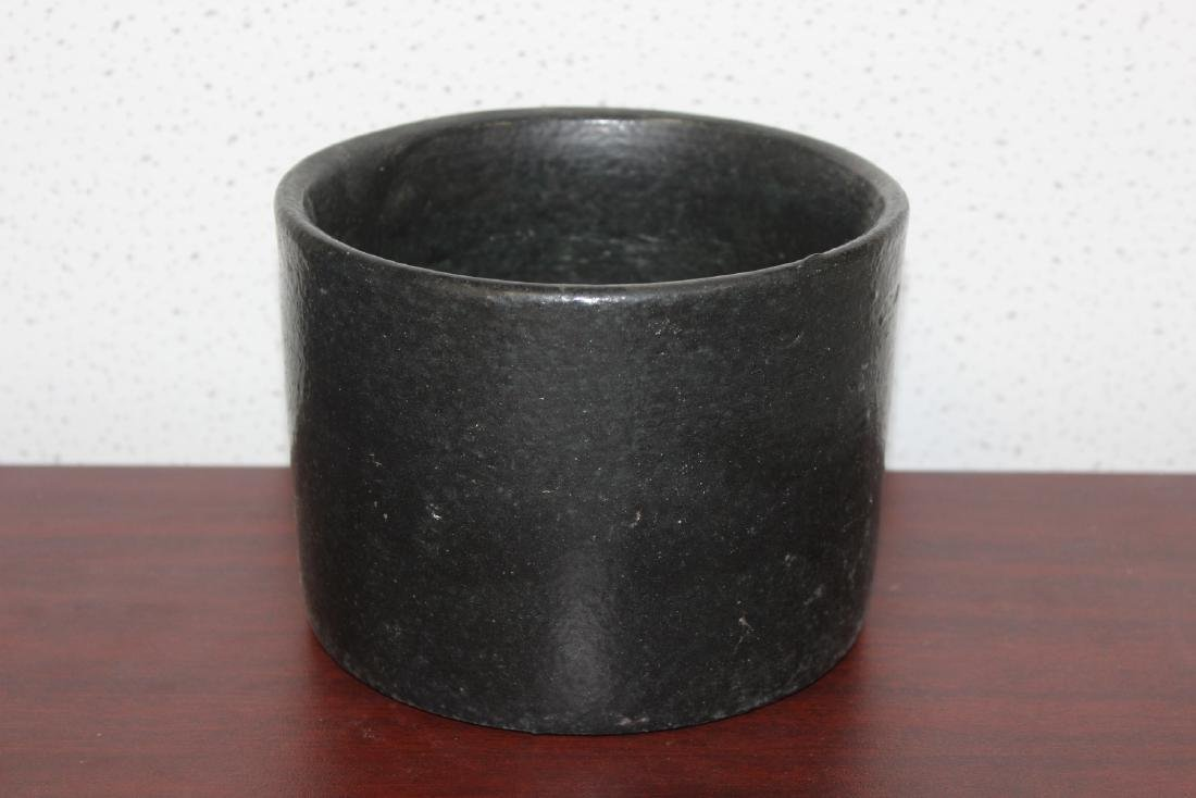 A Black Pottery Crock - 3