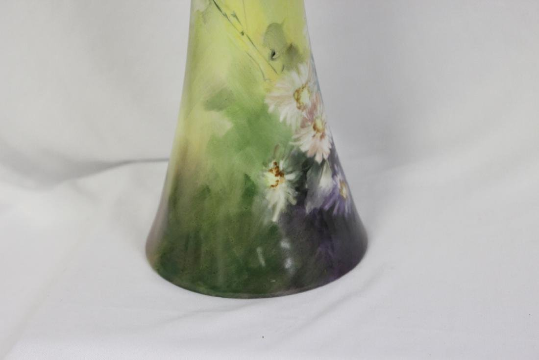 A Handpainted Trumpet Vase - 3