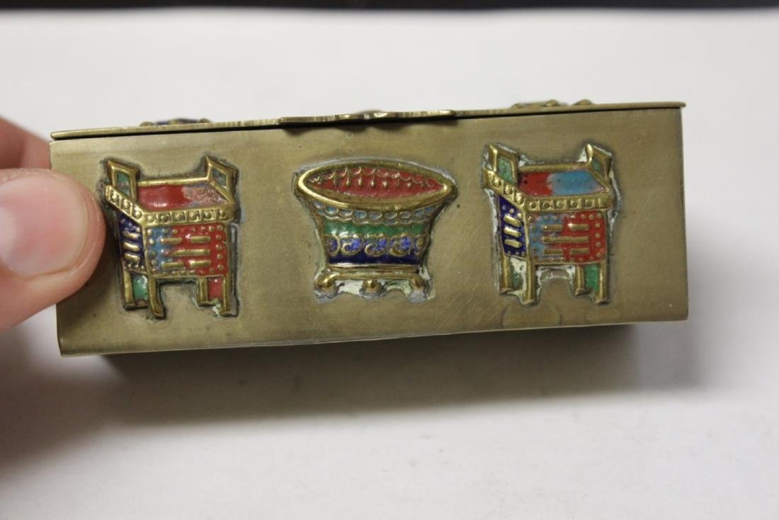 A Vintage/Antique Chinese Enamel Brass Box - 3
