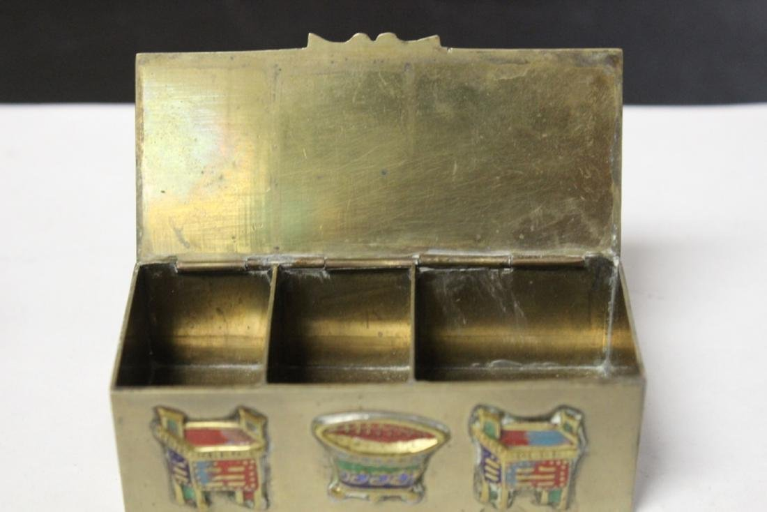 A Vintage/Antique Chinese Enamel Brass Box - 4