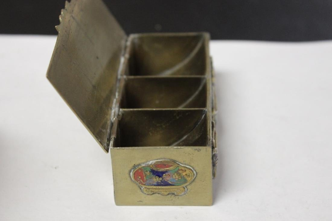 A Vintage/Antique Chinese Enamel Brass Box - 6