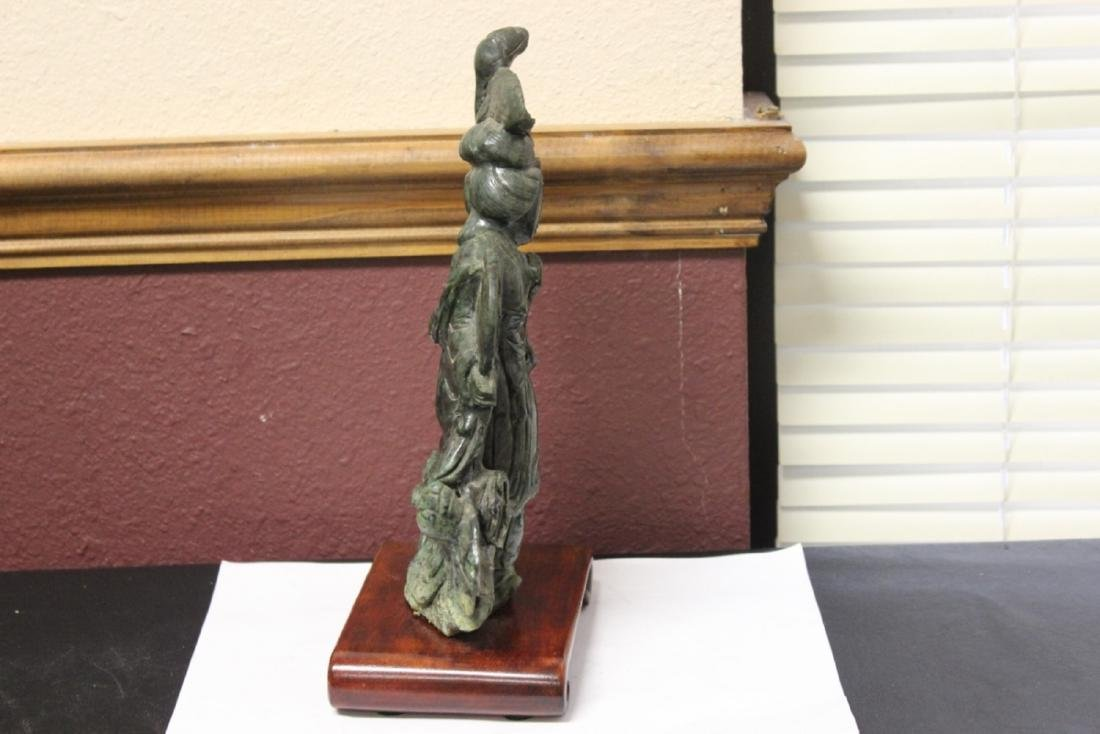 A Carved Jade or Similar Hard Stone Lady on Stand - 8