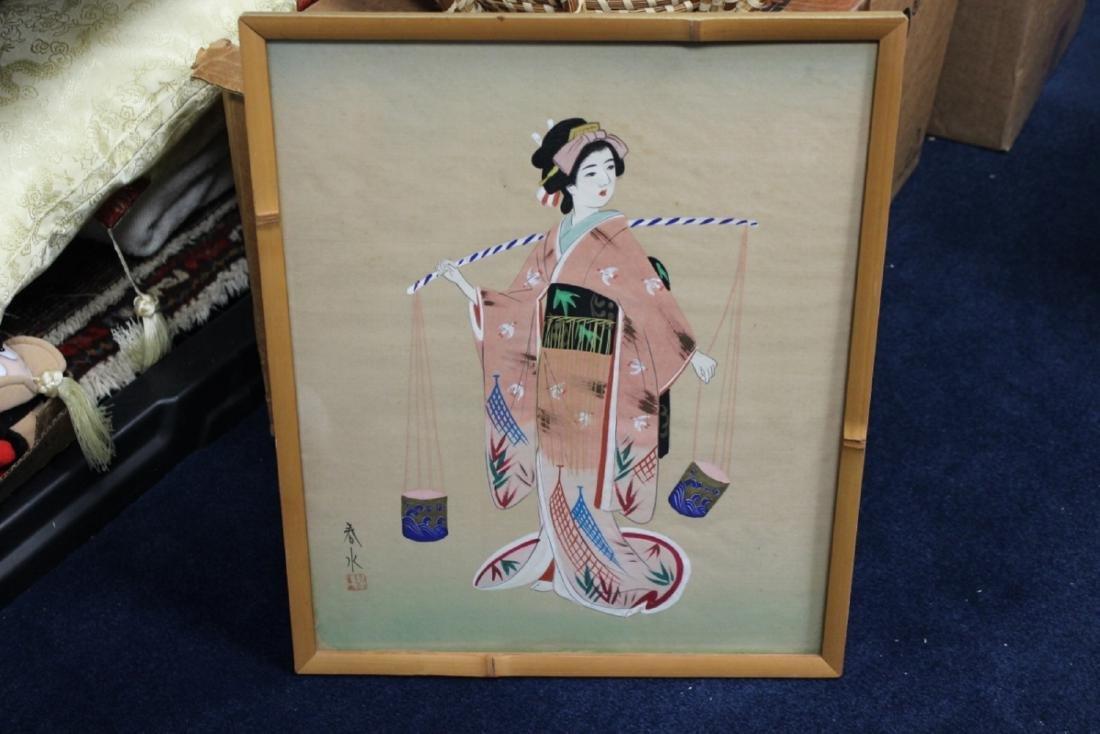 A Vintage Signed Pastel on Silk