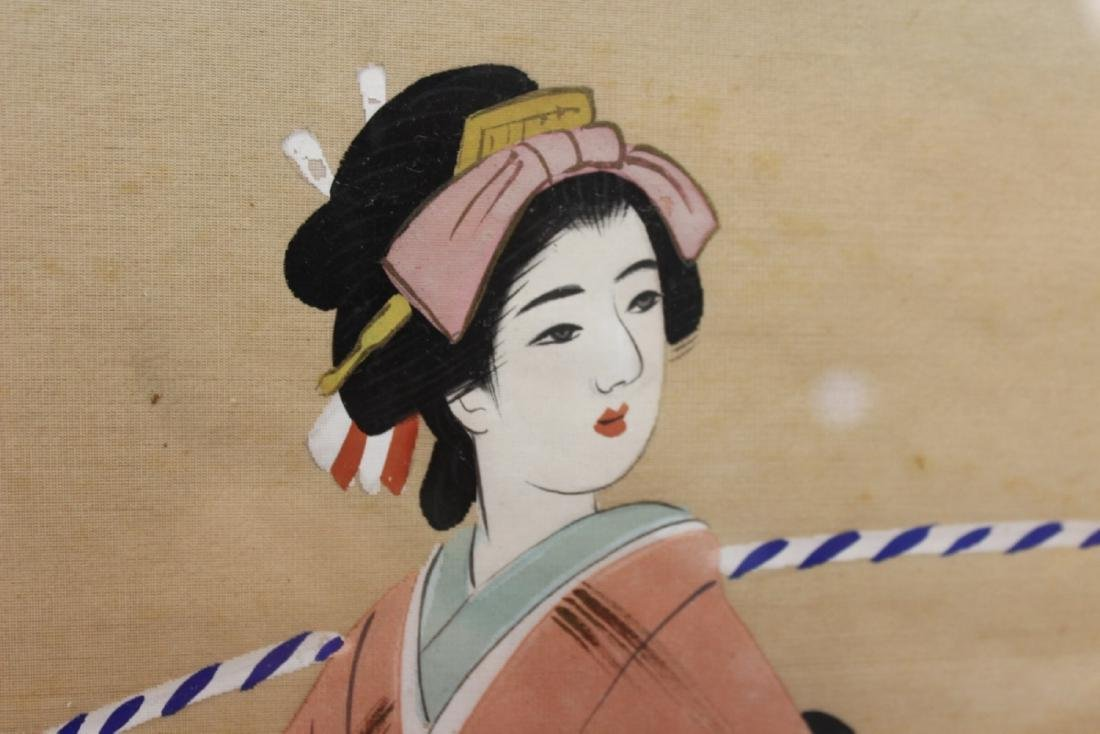 A Vintage Signed Pastel on Silk - 2