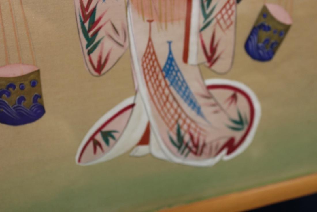 A Vintage Signed Pastel on Silk - 8
