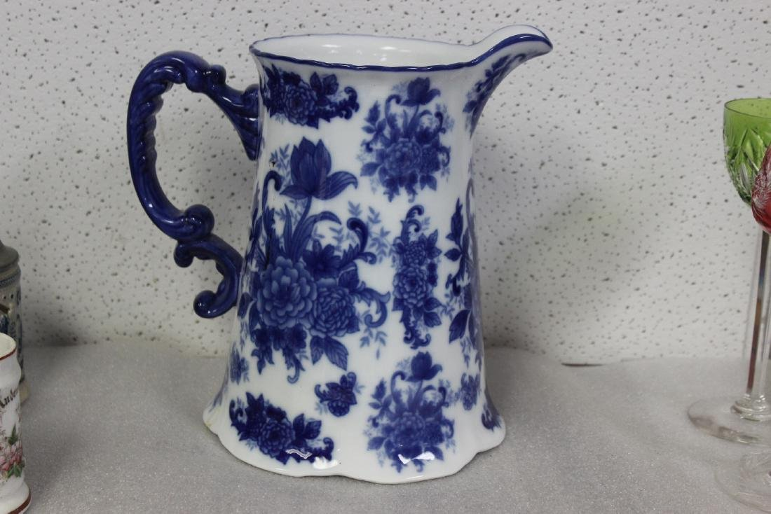 A Large Blue and White Pitcher - 3