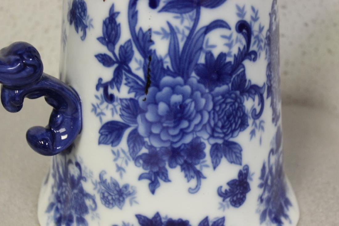 A Large Blue and White Pitcher - 4