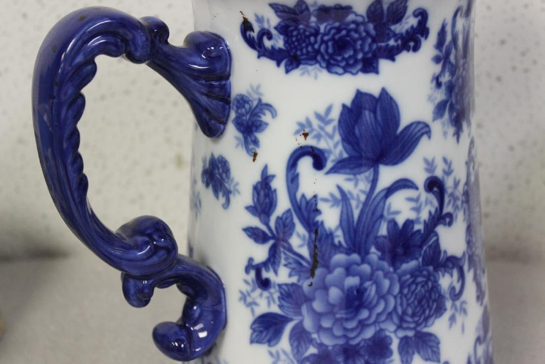 A Large Blue and White Pitcher - 6