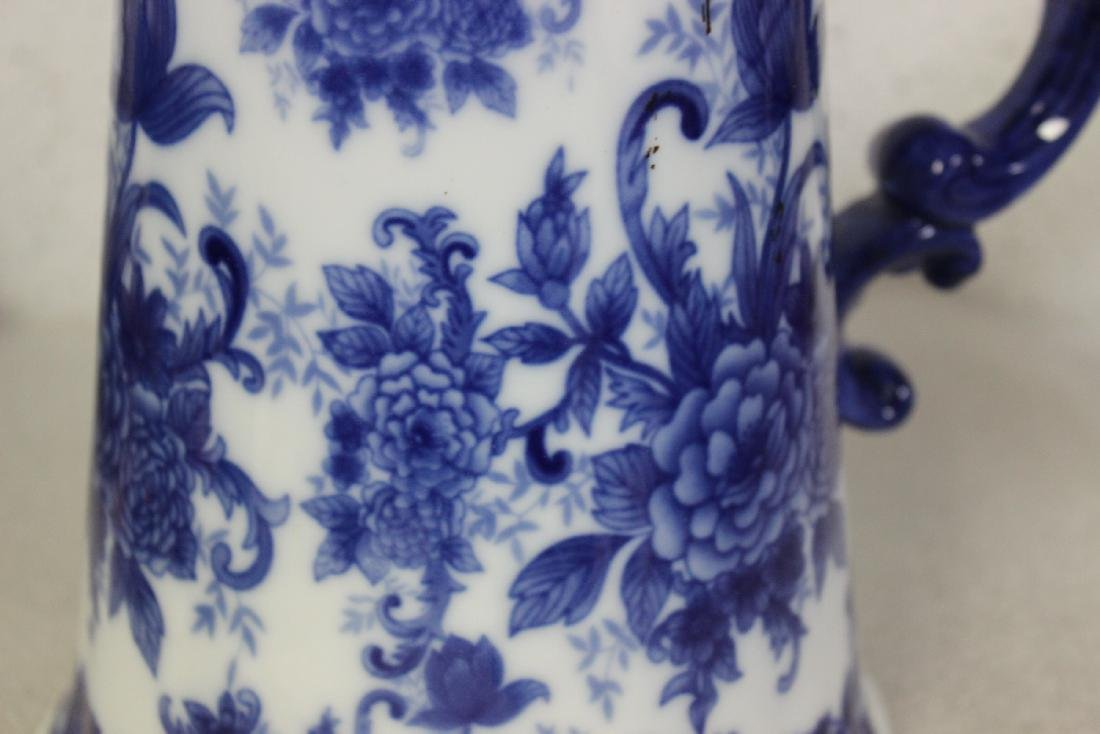 A Large Blue and White Pitcher - 9