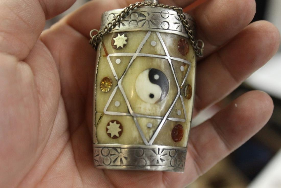 A Vintage Silver Plated Snuff Bottle - 8