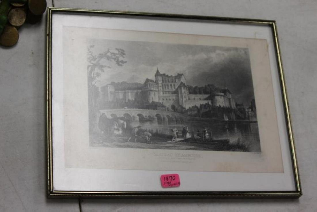 1870 Steel Engraving of Chateau of Amboise