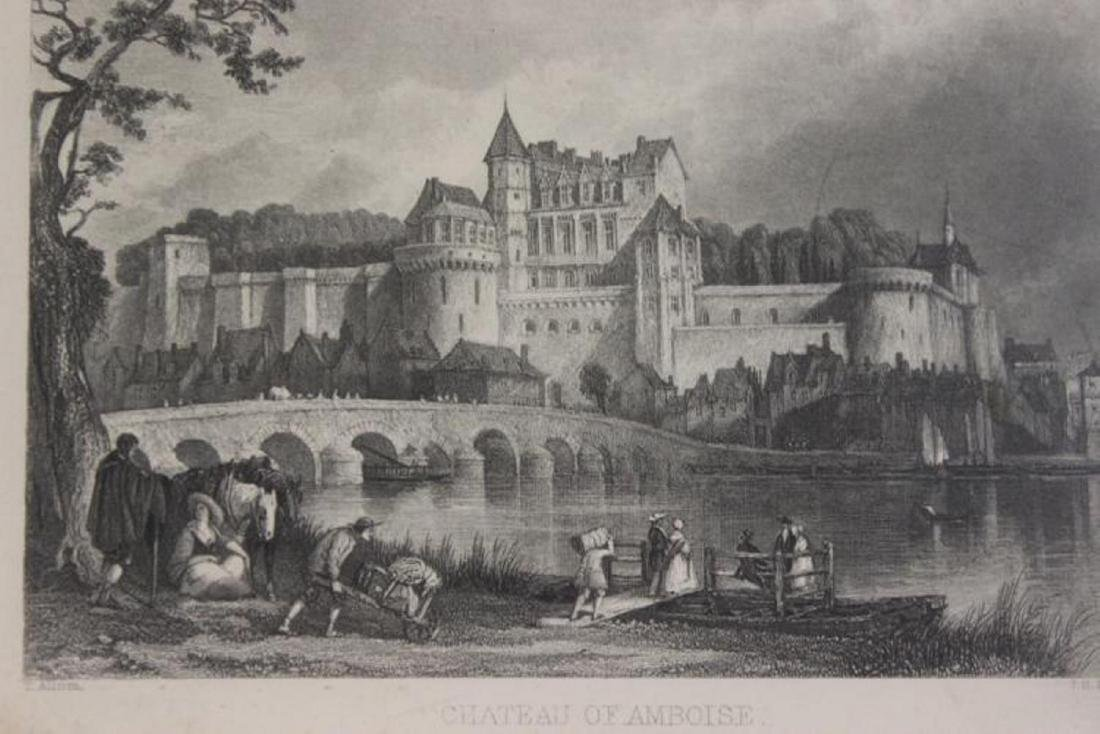 1870 Steel Engraving of Chateau of Amboise - 2