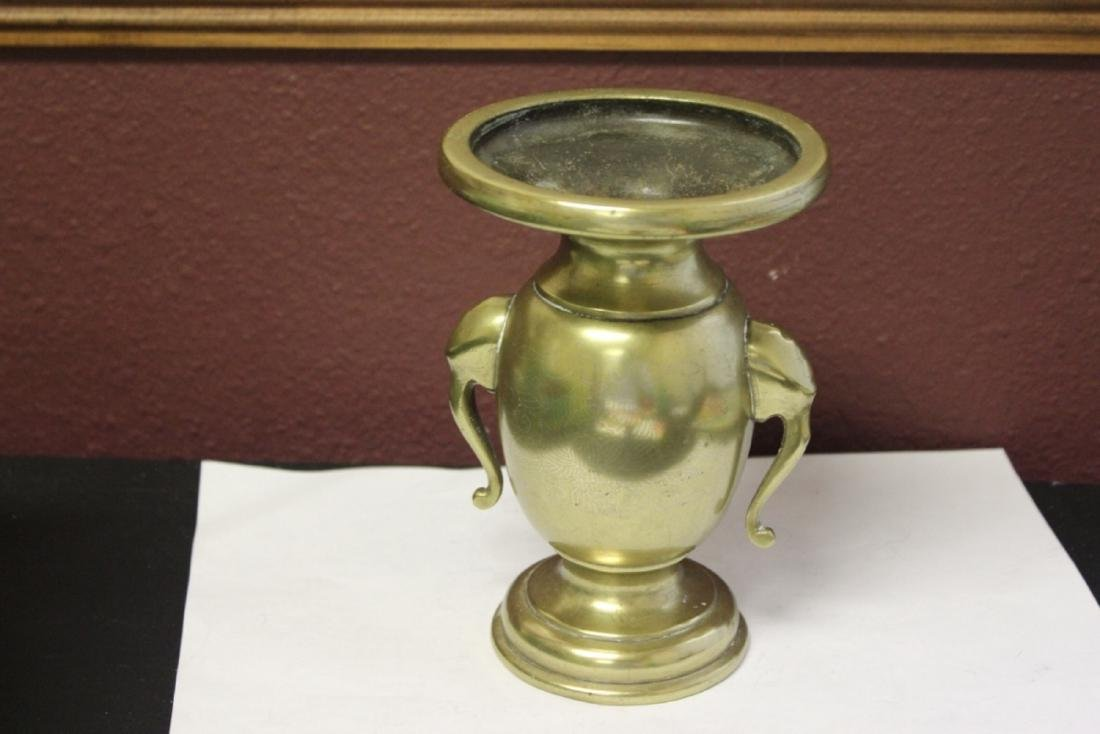 A Heavy Elephant Handle Vase or Incense Burner - 3