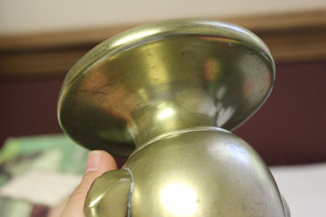 A Heavy Elephant Handle Vase or Incense Burner - 9
