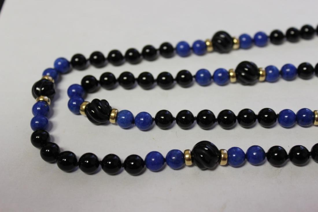 A Lapis and Onyx and 14Kt Gold Necklace - 4