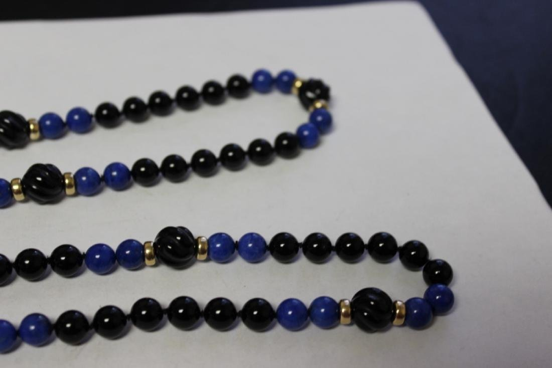 A Lapis and Onyx and 14Kt Gold Necklace - 5