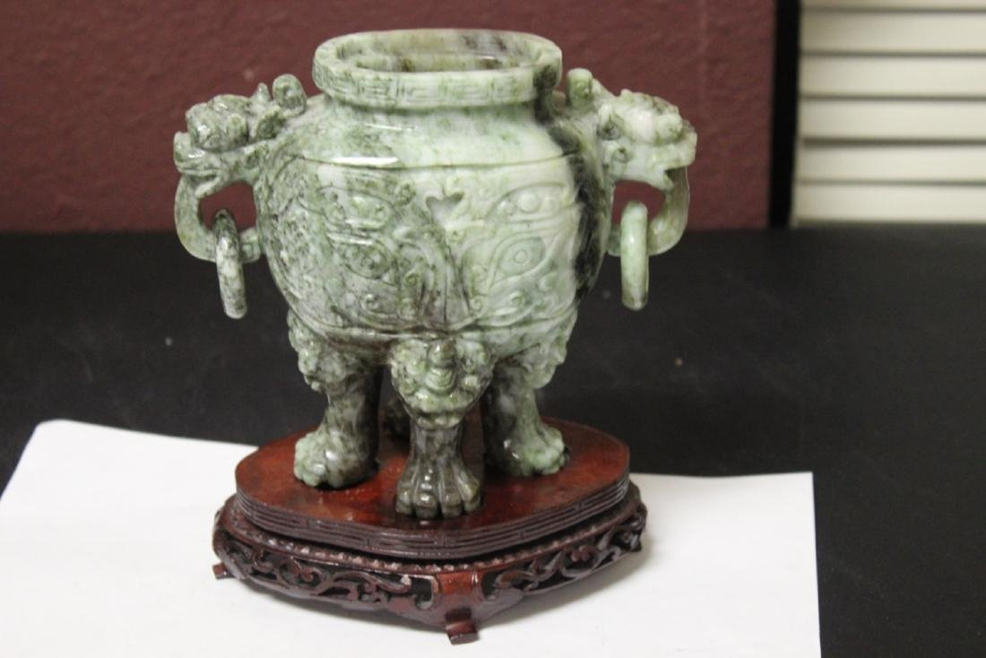 A Chinese Very Well Carved Jade Urn - 2