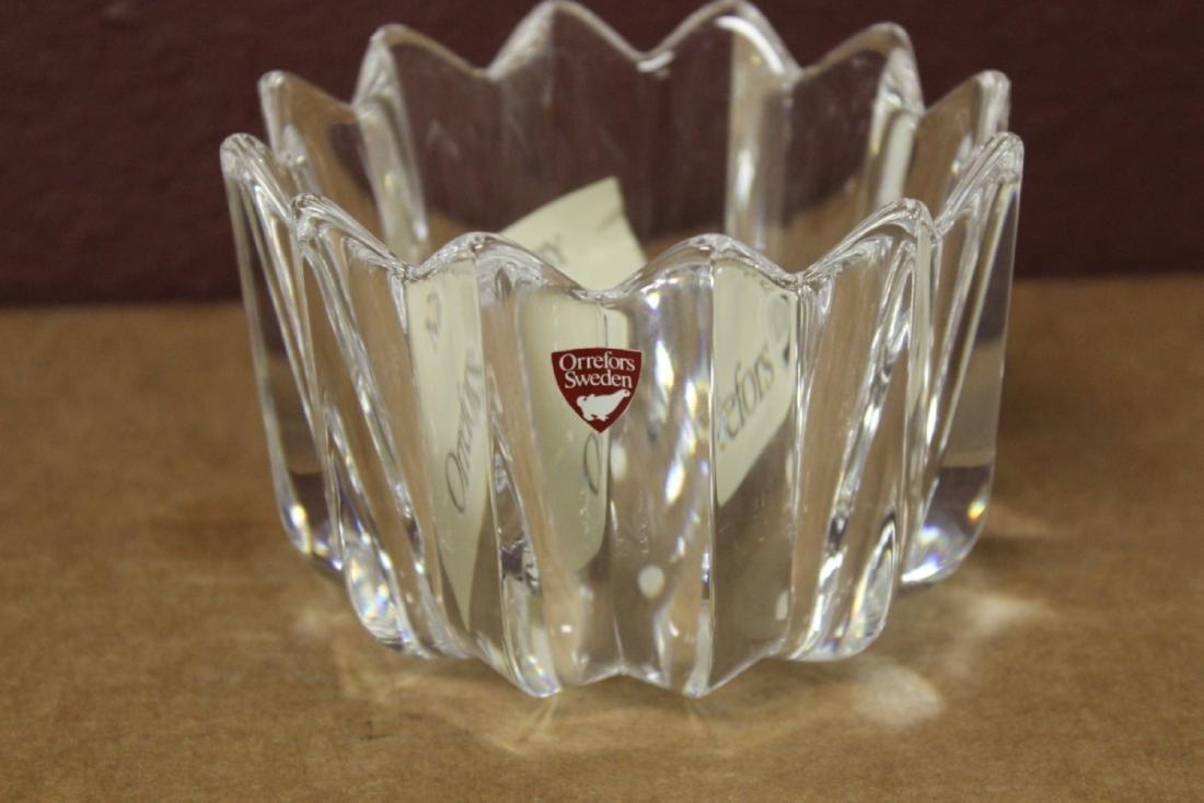 A Boxed Crystal Orrefors Bowl - Fleur Pattern