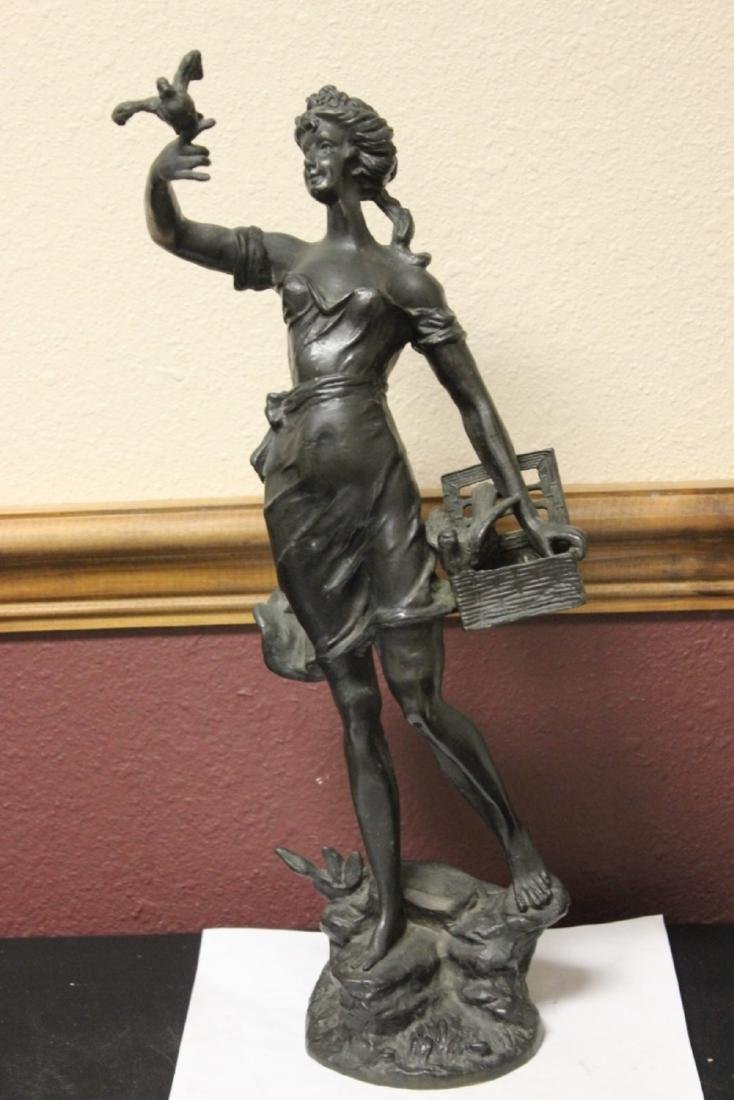 A Signed Heavy Bronze Statue - 2