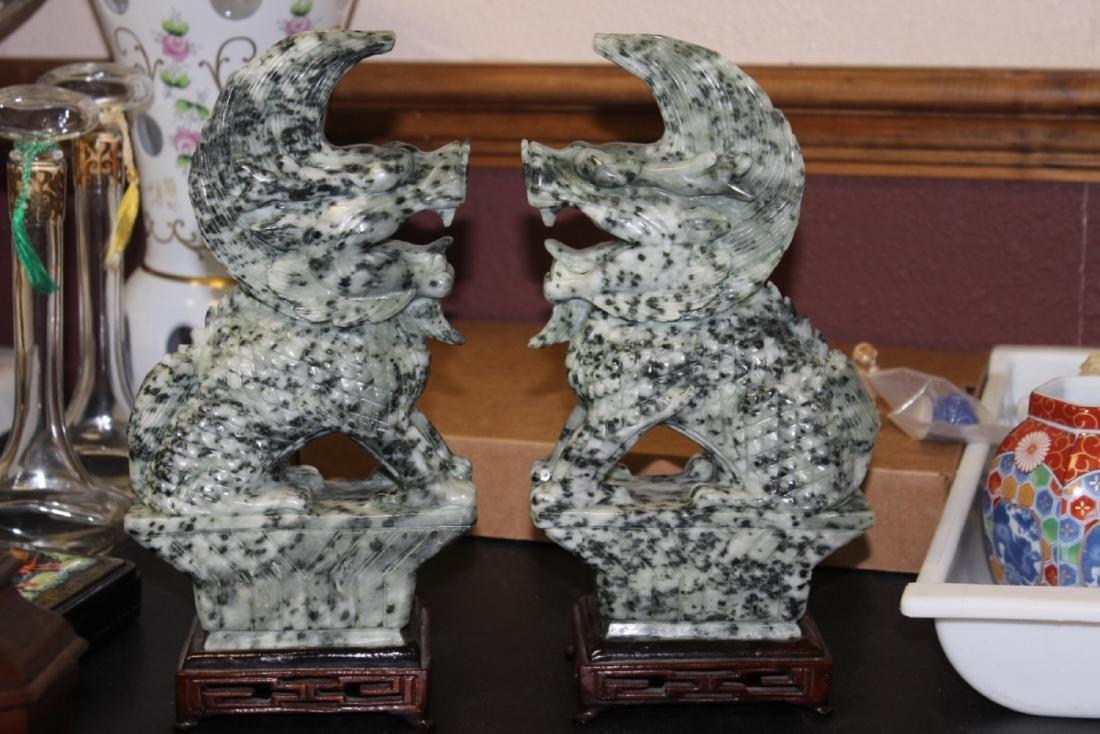Set of Two Jade or Hardstone Chinese Beast