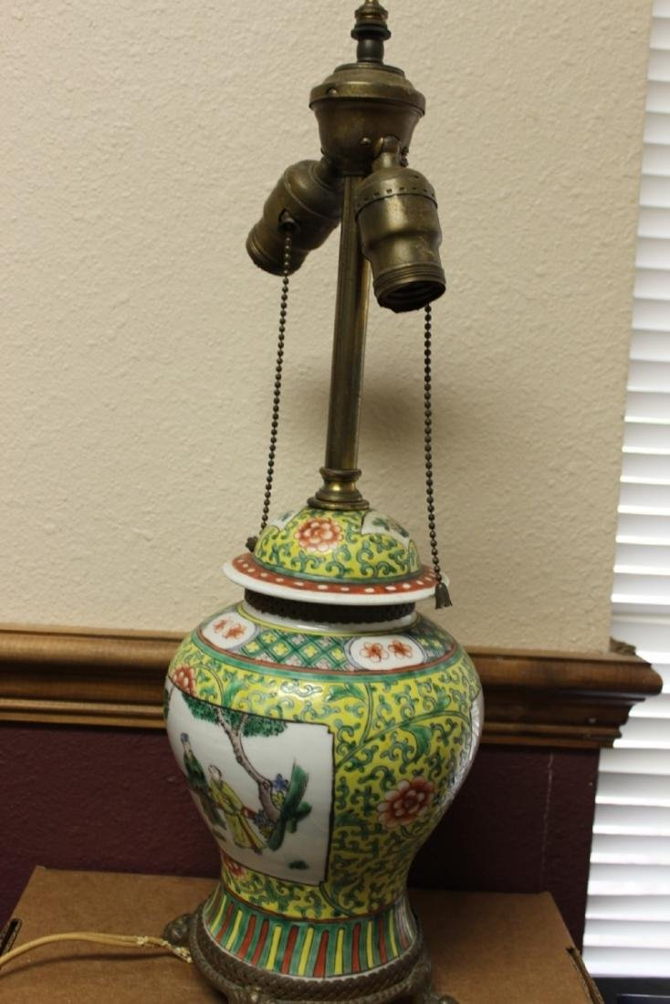 A Chinese Famille Jaune Ginger Jar Lamp