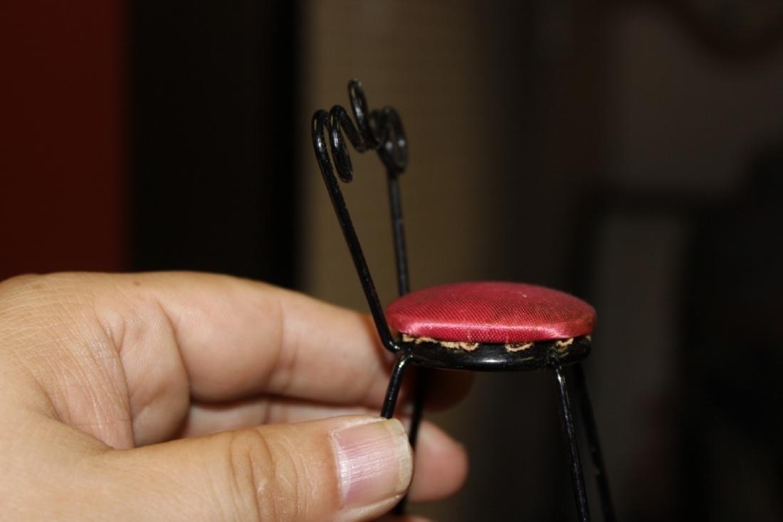 A Miniature Doll House Metal Chair - 5
