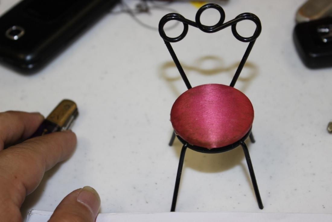 A Miniature Doll House Metal Chair - 6