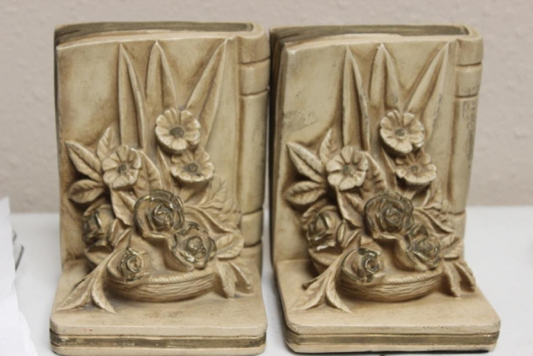 Ceramic Floral Book Ends