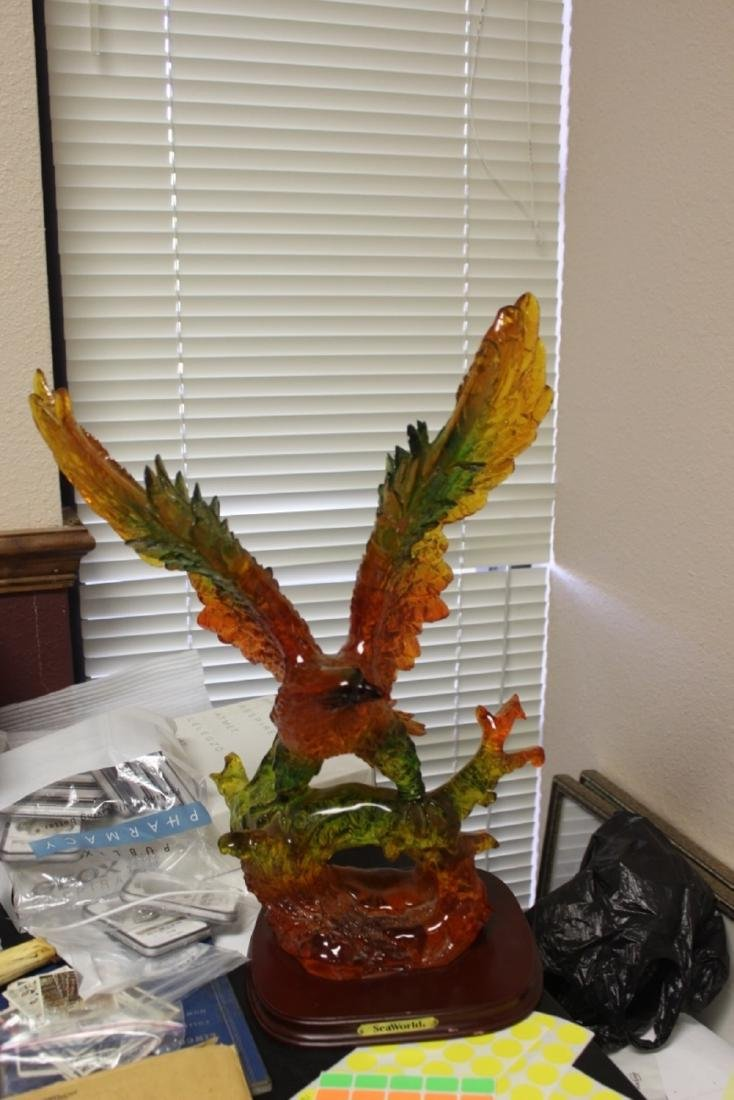 A Seaworld Lucite Eagle on Stand