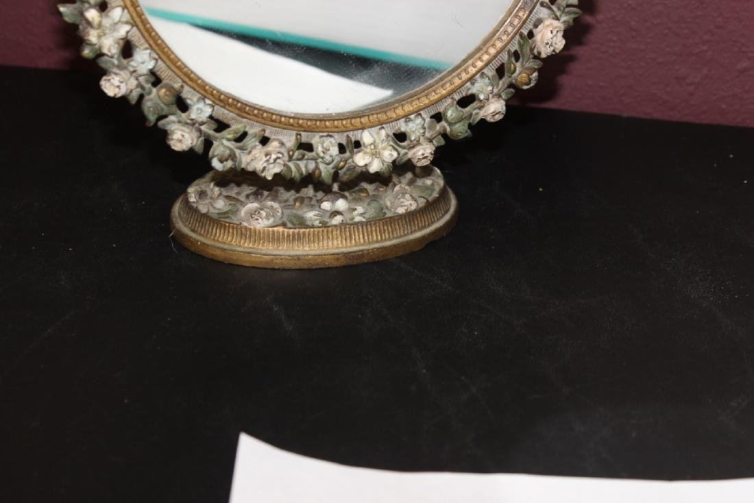 A Metal/Cast Iron Mirror and Stand - 2