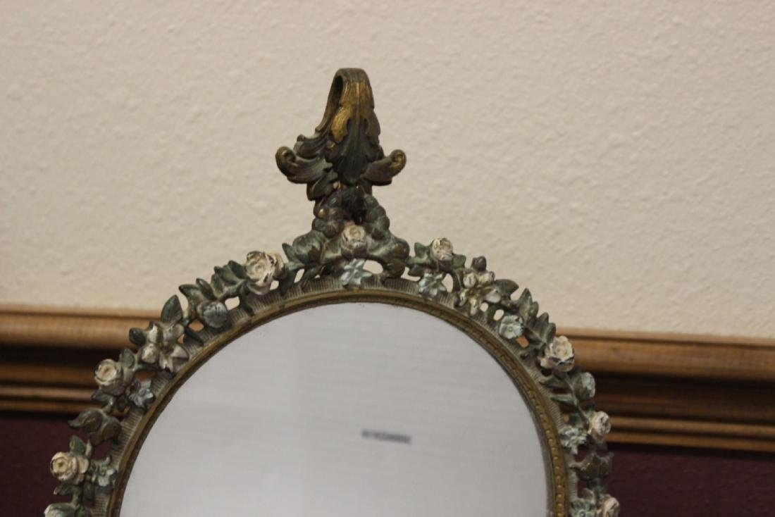 A Metal/Cast Iron Mirror and Stand - 3