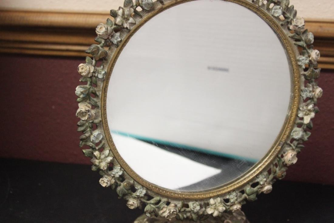 A Metal/Cast Iron Mirror and Stand - 4