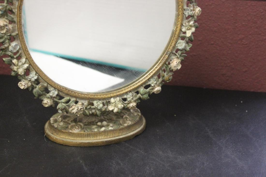 A Metal/Cast Iron Mirror and Stand - 6