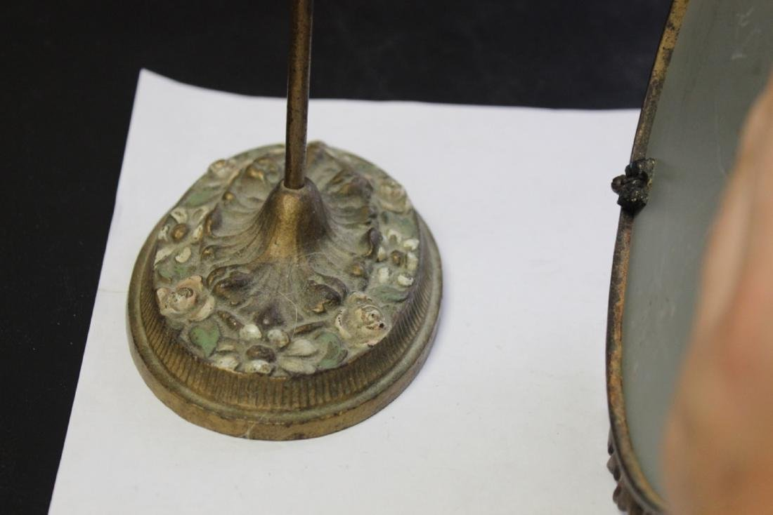 A Metal/Cast Iron Mirror and Stand - 9