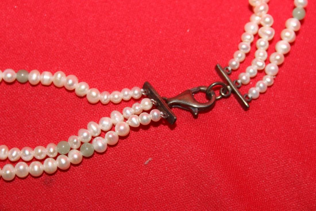 A Sterling, Jade and Pearl Necklace - 2