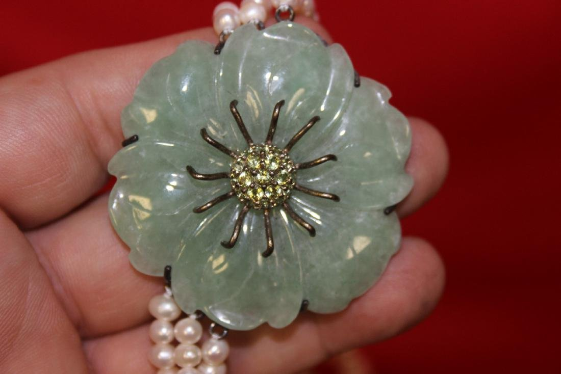 A Sterling, Jade and Pearl Necklace - 3