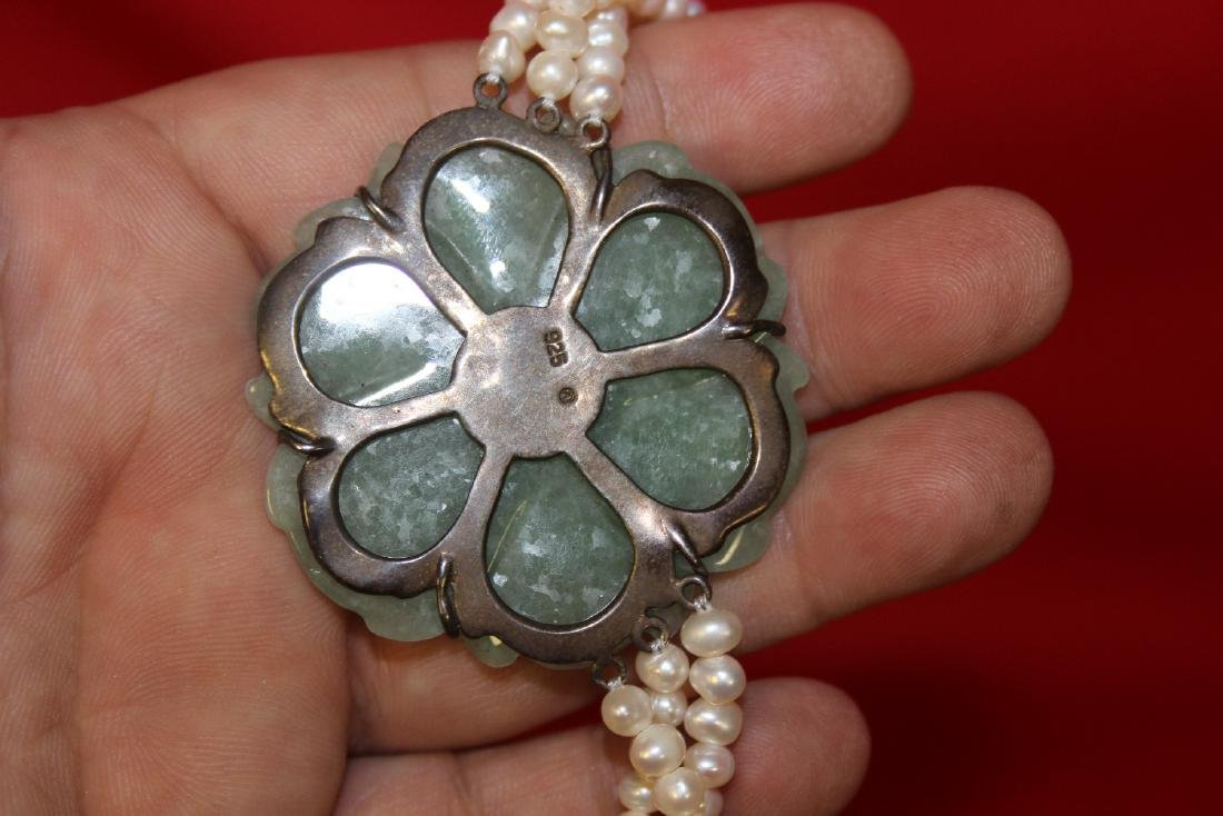 A Sterling, Jade and Pearl Necklace - 4
