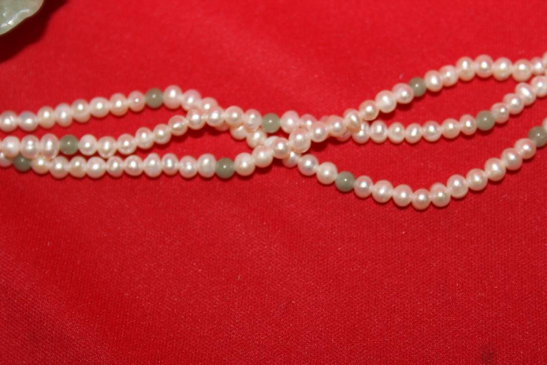 A Sterling, Jade and Pearl Necklace - 5