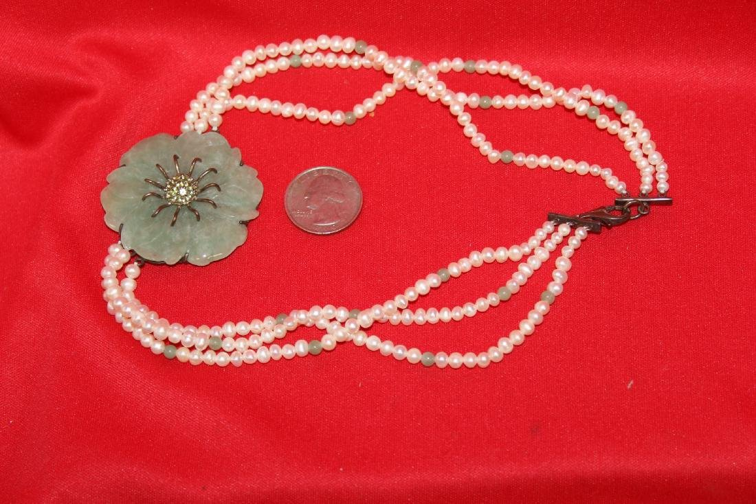 A Sterling, Jade and Pearl Necklace - 6