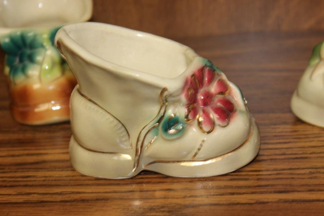 Lot of 4  Midcentury Pottery Shoe Form Planters - 10