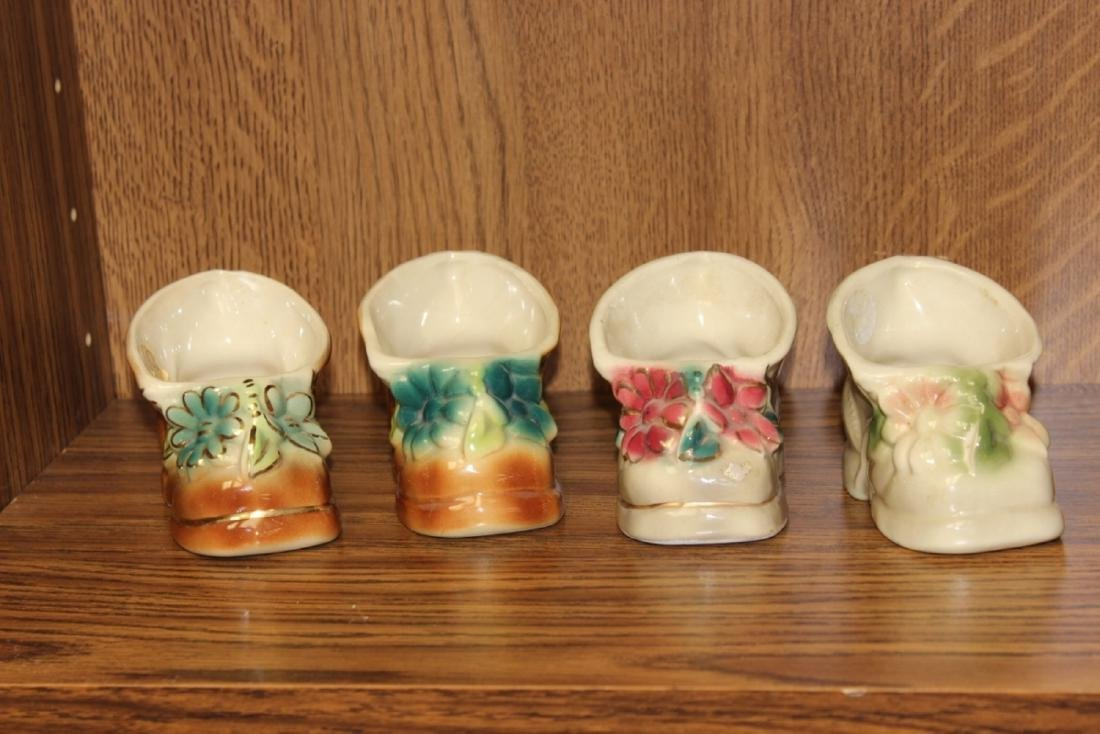 Lot of 4  Midcentury Pottery Shoe Form Planters