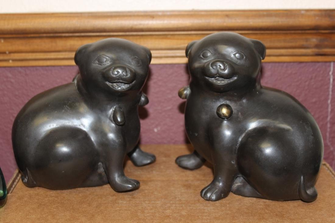 A Pair of Japanese Vintage Bronze Puppies