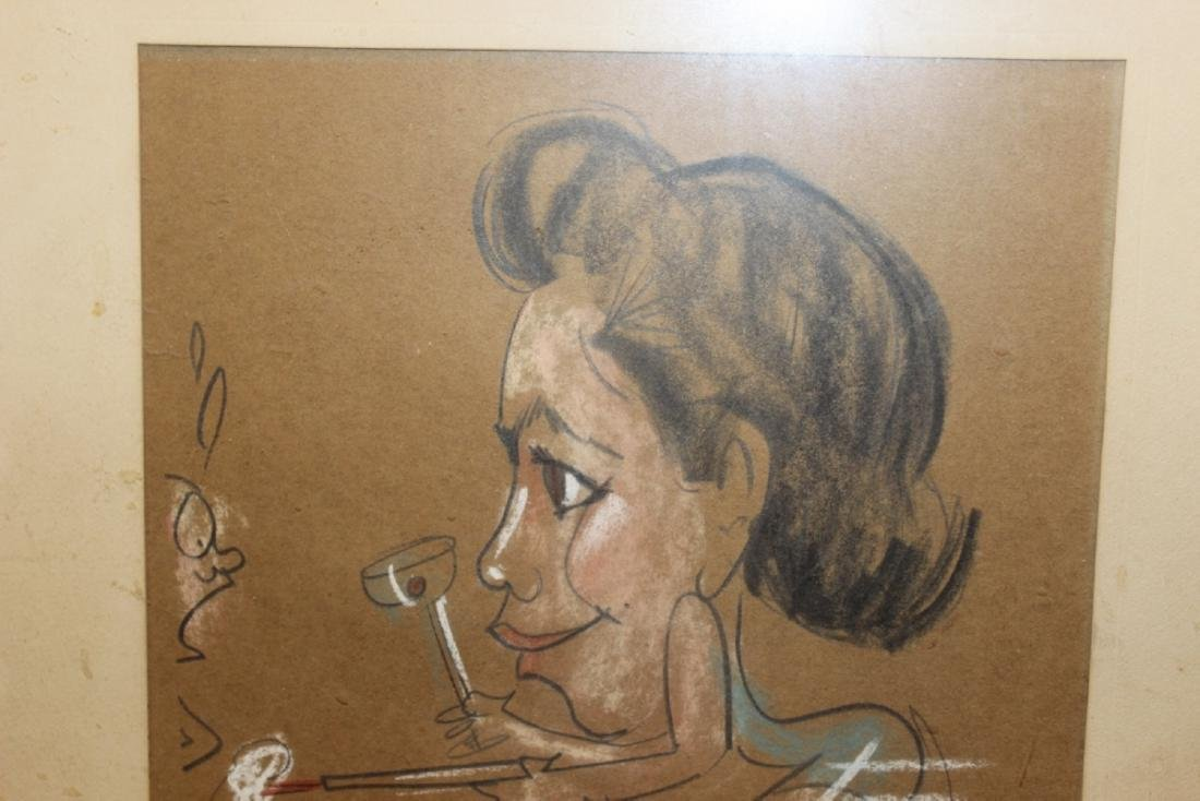 A Charcol / Pastel On Paper - Midcentury - 2