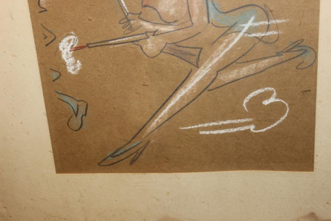 A Charcol / Pastel On Paper - Midcentury - 4