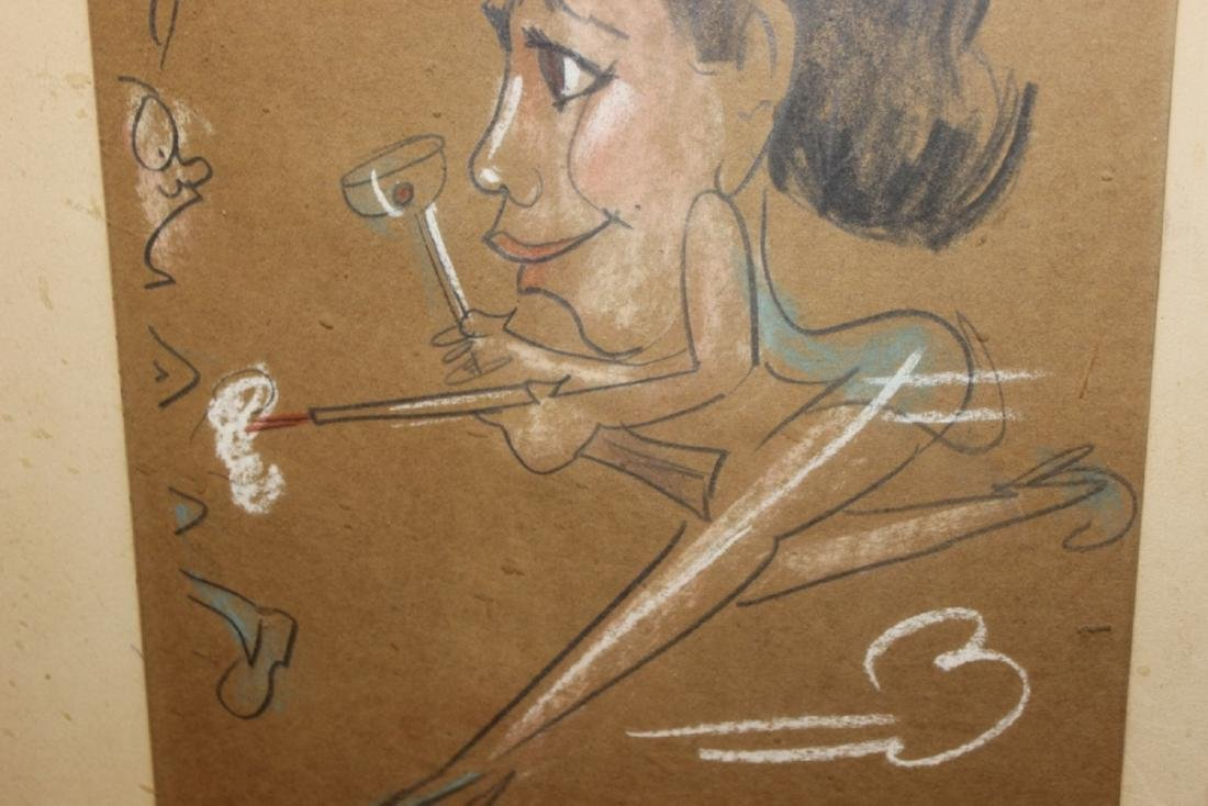 A Charcol / Pastel On Paper - Midcentury - 5