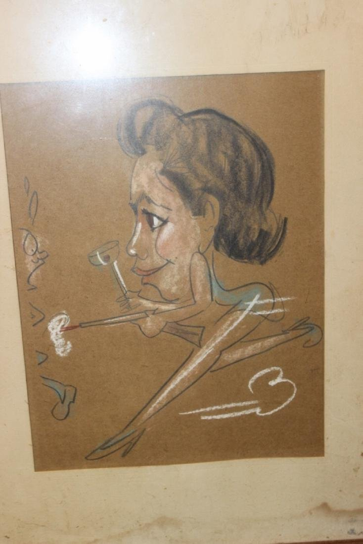 A Charcol / Pastel On Paper - Midcentury - 6