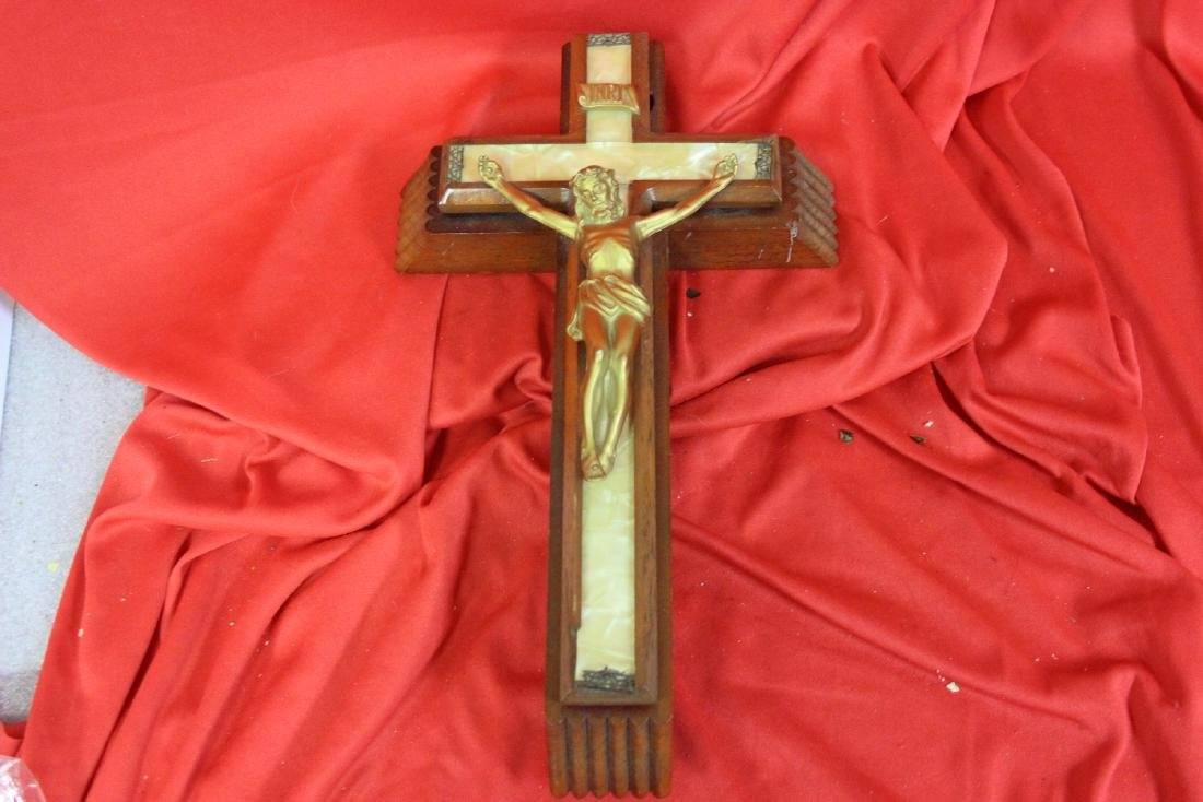 An INRI Cross with Holy Water Compartment