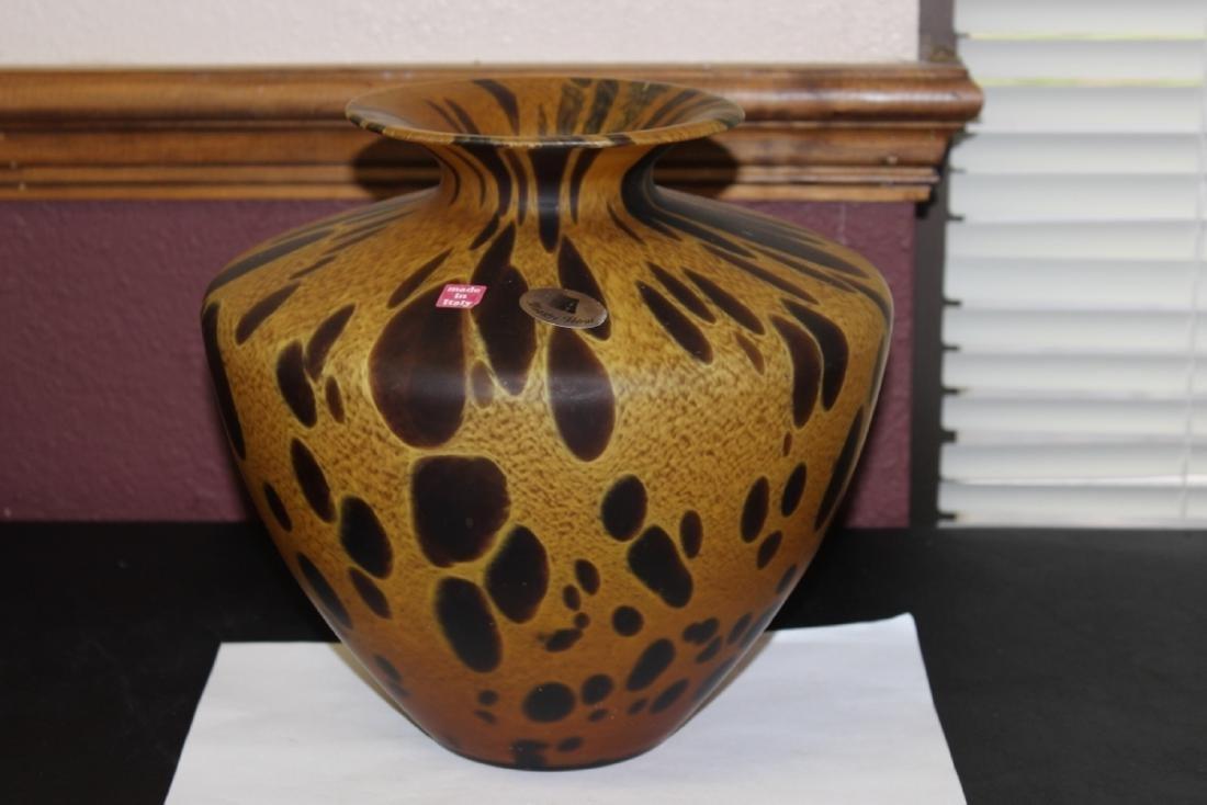 An Italian Tortoise Shell Glazed Art Glass Vase